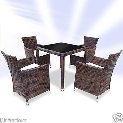 Garden Furniture - RATTAN GARDEN FURNITURE DINING TABLE AND 4 CHAIRS DINING SET OUTDOOR PATIO