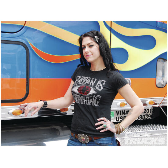 Danielle Colby-Cushing Standing by a Semi Hand on Hip 8 x 10 Inch Photo