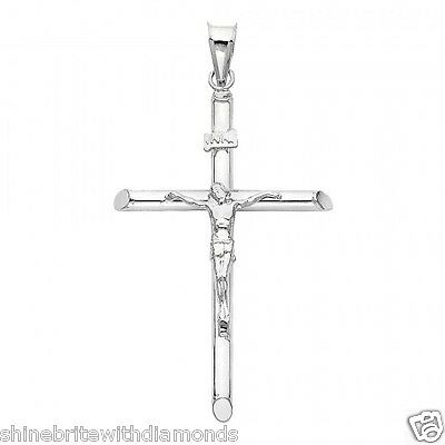 14k Solid White Gold Cross Jesus Crucifix Religious Charm Pendant Medium (14k Solid White Gold Chandelier)