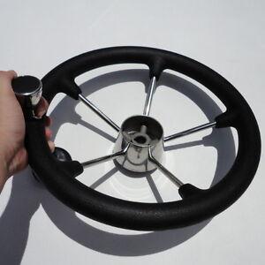 Dish 25° 13.5'' Black Yacht  Boat Steering  Wheel With PVC Foam & Knob5 Spoke