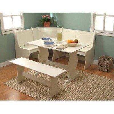 Dining Nook Corner 3 Pcs Breakfast Set White Table Bench 6 Seat