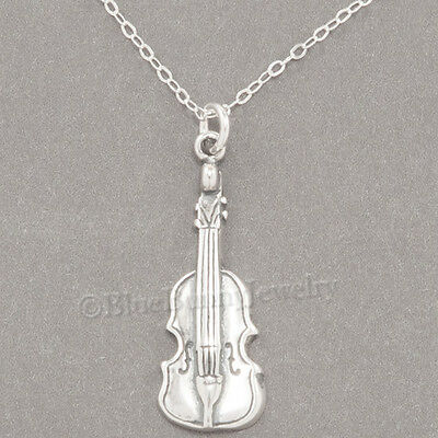 925 Sterling Silver Violin (VIOLIN Musical Instrument Charm Pendant  925 STERLING SILVER 18