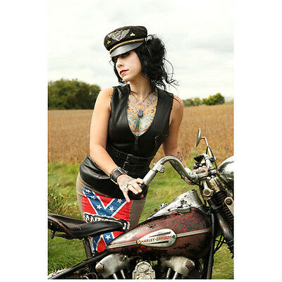 Danielle Colby Cushing American Pickers Rebel By Motorcycle 8 X 10 Inch Photo