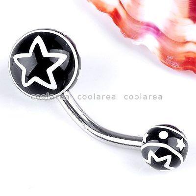 1x Punk 14G UV Black Star Belly Navel Button Ring Stainless Steel Piercing Rock- Black Uv Belly Ring