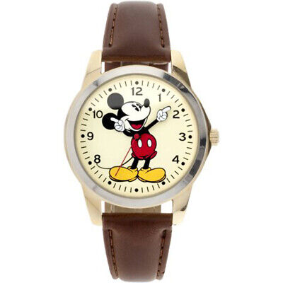 New Disney Classic Mickey Mouse Pointing Hands Brown Strap Watch In Box