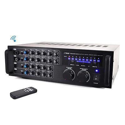 Pyle PMXAKB1000 1000W Bluetooth Karaoke DJ Mixer w/ Two Microphone Input RCA