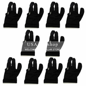 New 10 PCS Nylon Snooker Billiard Pool Cue Shooters 3 Fingers Gloves Accessories