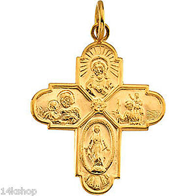 14K Gold  4 Four Way Cross Pendant Medal Charm  24x21mm Sacred Heart Miraculous