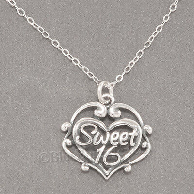 SWEET 16 Necklace Sixteen Birthday Heart Charm Pendant STERLING SILVER 925 chain ()