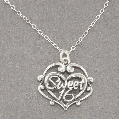 SWEET 16 Necklace Sixteen Birthday Filigree Heart Charm Pendant STERLING SILVER Sterling Silver Filigree Heart Charm