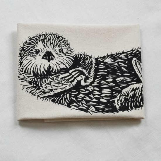 Otter Organic Cotton Kitchen Tea Towel Gift Screen Printed NWT