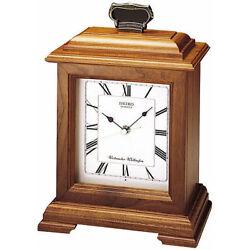 *BRAND NEW* Seiko Wooden Carriage Mantel Wooden Clock QXJ102BC