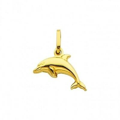 14k Hollow Dolphin Charm - 14K Solid Yellow Gold Dolphin Hollow Charm Pendant
