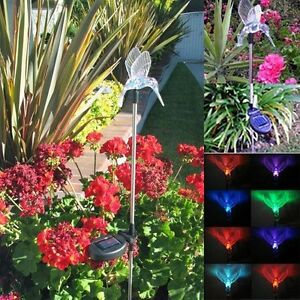 Solar powered hummingbird garden yard stake color changing led light for Solar garden stakes color changing