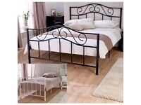 Brand new 4ft6 double metal bed frame with a thick Gold Ortho mattress. Free delivery