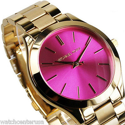 Michael Kors Womens Slim Runway Gold Tone Pink Dial Watch Mk3264 New