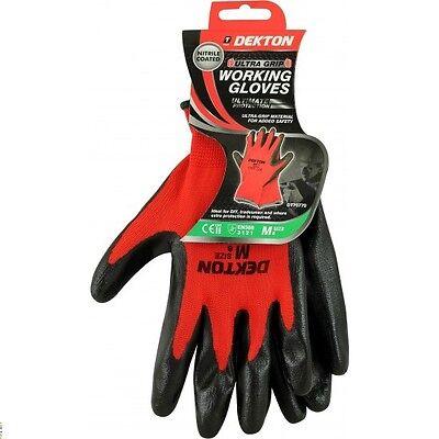 Dekton Ultra Grip Nitrile Coated Safety Working Gloves Black/Red Nitrile 8/M New