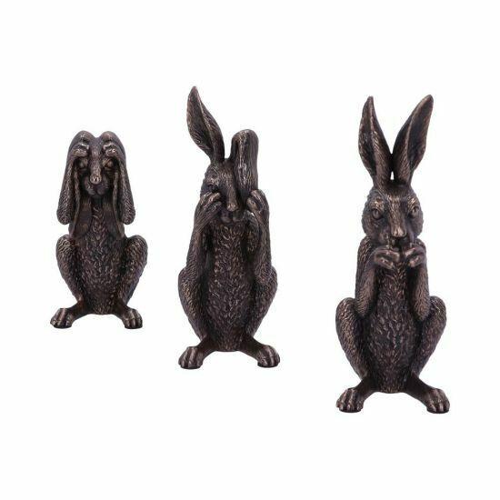 Three Wise Hares Bronzed Figurines