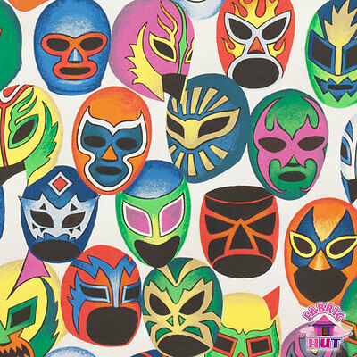 Alexander Henry Folklorico Mascaras de Pelea Lucha Libre Mask Fabric by the Yard
