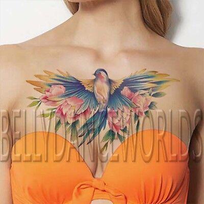 Large beautiful blue bird flower chest temporary tattoo instant makeup sticker