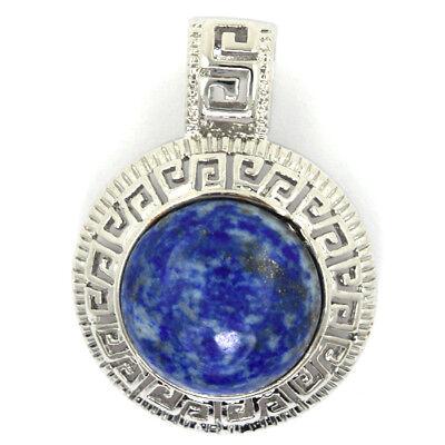 25mm blue lapis lazuli silver plated coin pendant bead (Lapis Lazuli Coin)