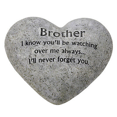 In Loving Memory Graveside Heart Plaque Stone - Brother Grave Memorial