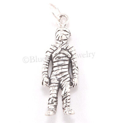 MUMMY Charm Sterling Silver Halloween EGYPTIAN Egypt Pendant solid 925 .925 3D - Halloween Egypt