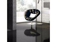 Black Glossy Porcelain Tiles with Quartz Effect (60cm x 60cm)