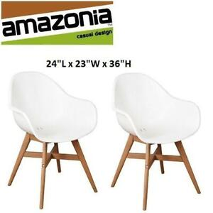 NEW 2 AMAZONIA PATIO DINING CHAIRS 2563900118 251676646 DELUXE HAWAII WHITE LIGHT TEAK OUTDOOR