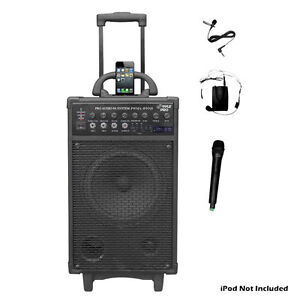 PYLE PRO PWMA890UI 500W Dual Channel Wireless Rechargeable Portable PA System