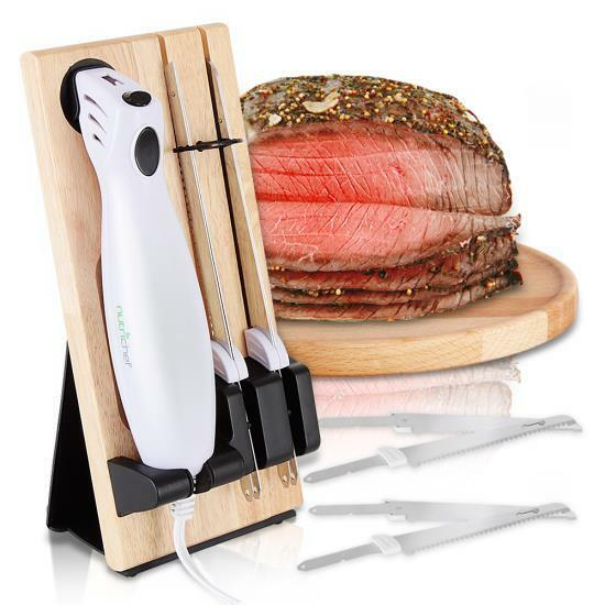 Nutrichef PKELKN16 Portable Electrical Food Cutter Knife Set with Bread Carving