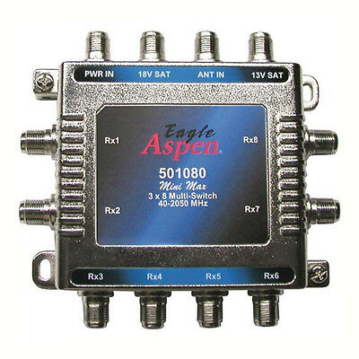 Used, Eagle Aspen 501080 3 In 8 Out Multi-Switch 3x8 Signal Splitter Multiswitch 8-Way for sale  Fort Wayne