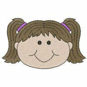 1127:  Machine Embroidery Designs - Happy Faces - School Kids - Girls