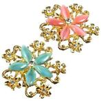Gold Plated Flower Opal Inlay Crystal Brooch Pin For Women