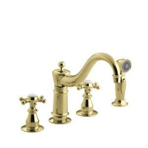 Kohler 158-3-PB Antique Three-Hole Kitchen Sink Faucet With 8-5/