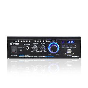 Pyle PCAU48BT 2 x 120W Bluetooth Stereo Power Amplifier USB/SD AUX & Remote