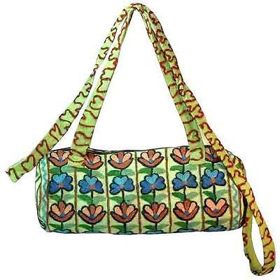 BOHO Hand Made Embroidered Wool Round Mini Duffle Bag -