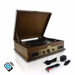 PYLE PTT30WD Retro Vintage Style Bluetooth Turntable Record Player with Recording, AM/FM Radio