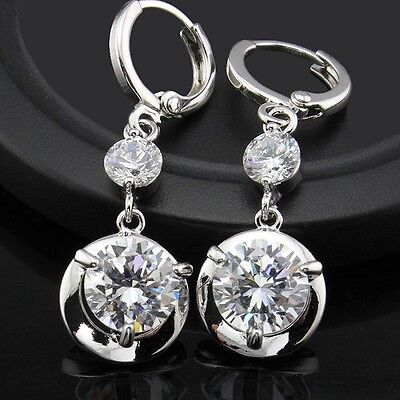 18K White Gold GP Sparkling Use Swarovski CZ Crystal Dangle Earrings on Rummage