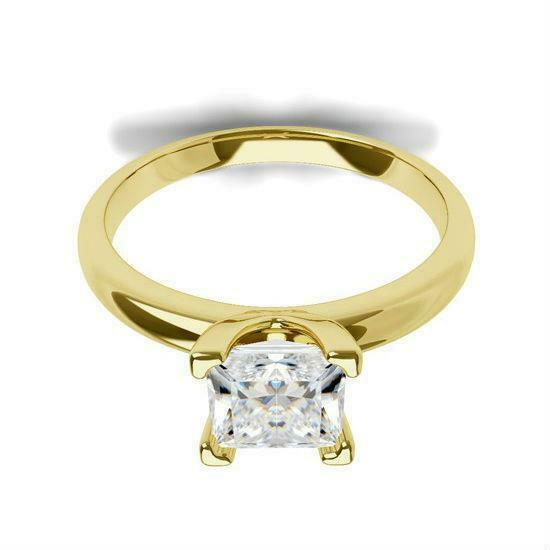 Princess Cut Diamond Ring 1.5 Ct Solitaire 18 Kt Yellow Gold Si1 Certified