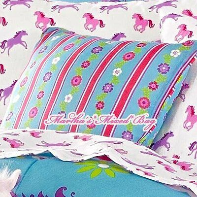 Blue Striped Toss Pillow - Girls WESTERN PONY Equine HORSE Pink Stripe Turquoise Blue TOSS PILLOW 17