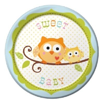 Happi Tree Blue Boy Baby Shower Sweet Baby Owl Paper 8 Ct 7