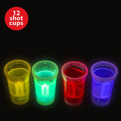 12 pcs Shot Cups Glass Glow Glasses Bar Drinking Party Barware 36ml (Glow Drinking Glasses)