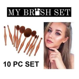 NEW 10PC OVAL MAKEUP BRUSH SET 167113111 1 SET CONTAINS 10 BRUSHES METALLIC GOLD COSMETICS APPLICATION TOOLS