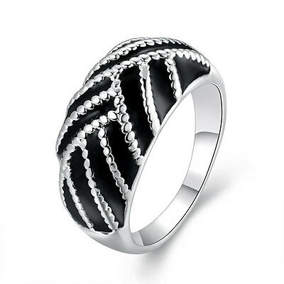 Free Shipping Black Cover Smooth Solitaire Band Ring Size 7 8