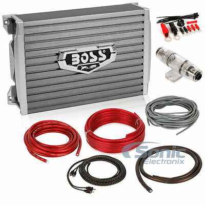 Boss AR1500M 1500W Monoblock Armor Series Class D Car Amplifier + 4 AWG Amp Kit