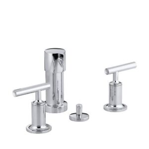 Kohler 14431-4-CP Purist Bidet Faucet With Vertical Spray And Le