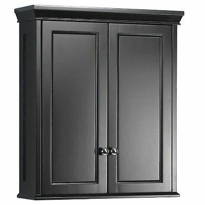 Bathroom Wall Storage Cabinet Hanging Medicine Shelf Bath Kitchen Black Wood