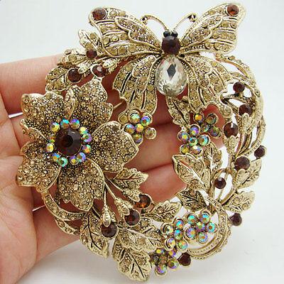 Austrian Crystal Butterfly Flower - Vintage Style Butterfly Flower Brooch Pin Topaz Austrian Crystal Rhinestone
