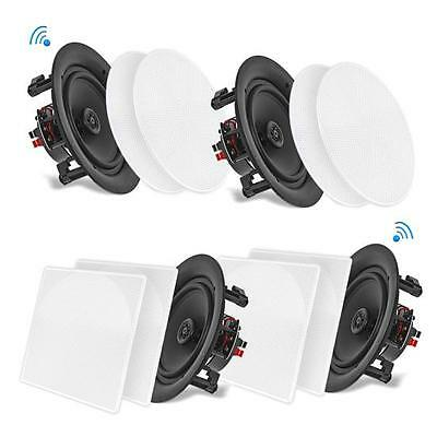 4 Speakers 8'' Bluetooth Ceiling / Wall Speaker Kit, Flush Mount 2-Way Home
